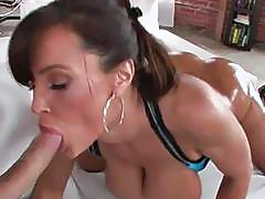 Anal queen with huge boobs giving blowjob