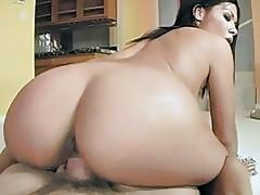 Hot ass brunette in thong sucks and rides hard cannon