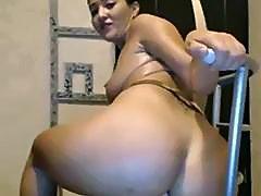 Hot girl rides dildo for you