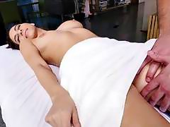 Lovely fat booty brunette babe Nina North gets fuck massage